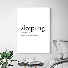 schlafen definition wörterbuch drucke schwarz weiß minimalistischen poster schlafzimmer wand kunst bilder leinwand malerei college wohnheim dekor