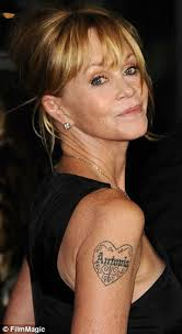 Melanie Griffith Pictured Left In 2013 With A Tattoo Bearing The Name Of Her Ex