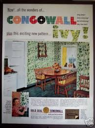 50s Kitchen Decor Ivy Wall Pattern Congowall 1952