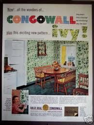 50s Kitchen Decor Ivy Wall Pattern Congowall 1952