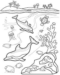 Underwater Animals Fun Printable Coloring Page