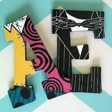 Nightmare Before Christmas Bathroom Decor by Custom Decorated Wooden Letters Nightmare Before Christmas