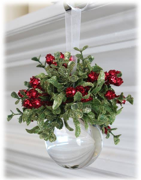 Mini Mistletoe Krystal Ball Ornament by Ganz, Clear