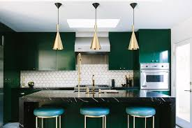 Modern Green Kitchen Cabinets Black And Emerald Island Marble Waterfall Top Gold