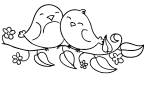 Love Birds Sitting On The Flowering Branch Coloring Pages
