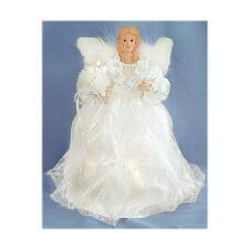 Angel With White Gown And Feathers Lighted Tree Topper