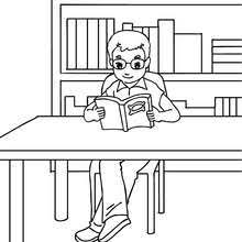 Pupil Reading A Book Coloring Page
