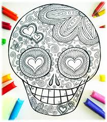 Awesome Sugar Skull Coloring Page Printable Pack For Day Of The Dead