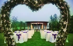 Outdoor Lake Unique Wedding Decorations With Round Altar And White Covered Chairs Also Flowers