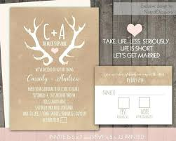 Antler Wedding Invitations 9454 Also Deer Antlers Rustic Invitation Set Casual Blooming