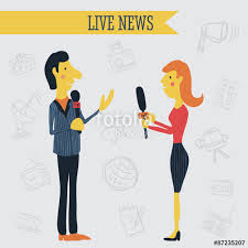 Journalist News Reporter Interview Holding Microphones On Background Of Hand Drawn Mass Media Icons Vector