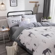Comforter Sets Contemporary Brown Queen Beautiful Deer And Christmas Tree Reviseable Duvet Cover