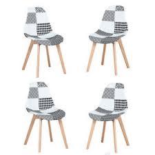 details zu satz 4 stuhl esszimmerstühle patchwork küchenstuhl aus holz grau schwarz
