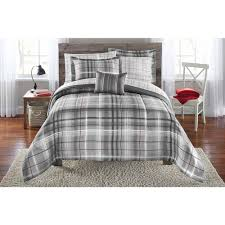 Walmart Daybed Bedding by Mainstays Bed In A Bag Bedding Comforter Set Grey Plaid Walmart Com