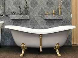 casa padrino luxus jugendstil badewanne weiß platingrau gold 188 x 83 x h 69 cm freistehende retro badewanne mit löwenfüßen retro badezimmer