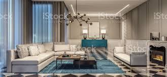 moderne innenarchitektur wohnzimmer mit blauen akzenten und schwarzen und weißen fliesen stockfoto und mehr bilder anrichte