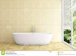 modernes badezimmer mit beige fliesen auf wand stock