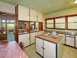 Vintage 1960s Kitchen With Pink Laminex Tops
