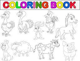 Farm Animal Coloring Book Stock Vector