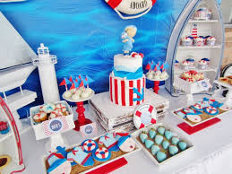nautical themed baby shower ideas round white red stripe pattern