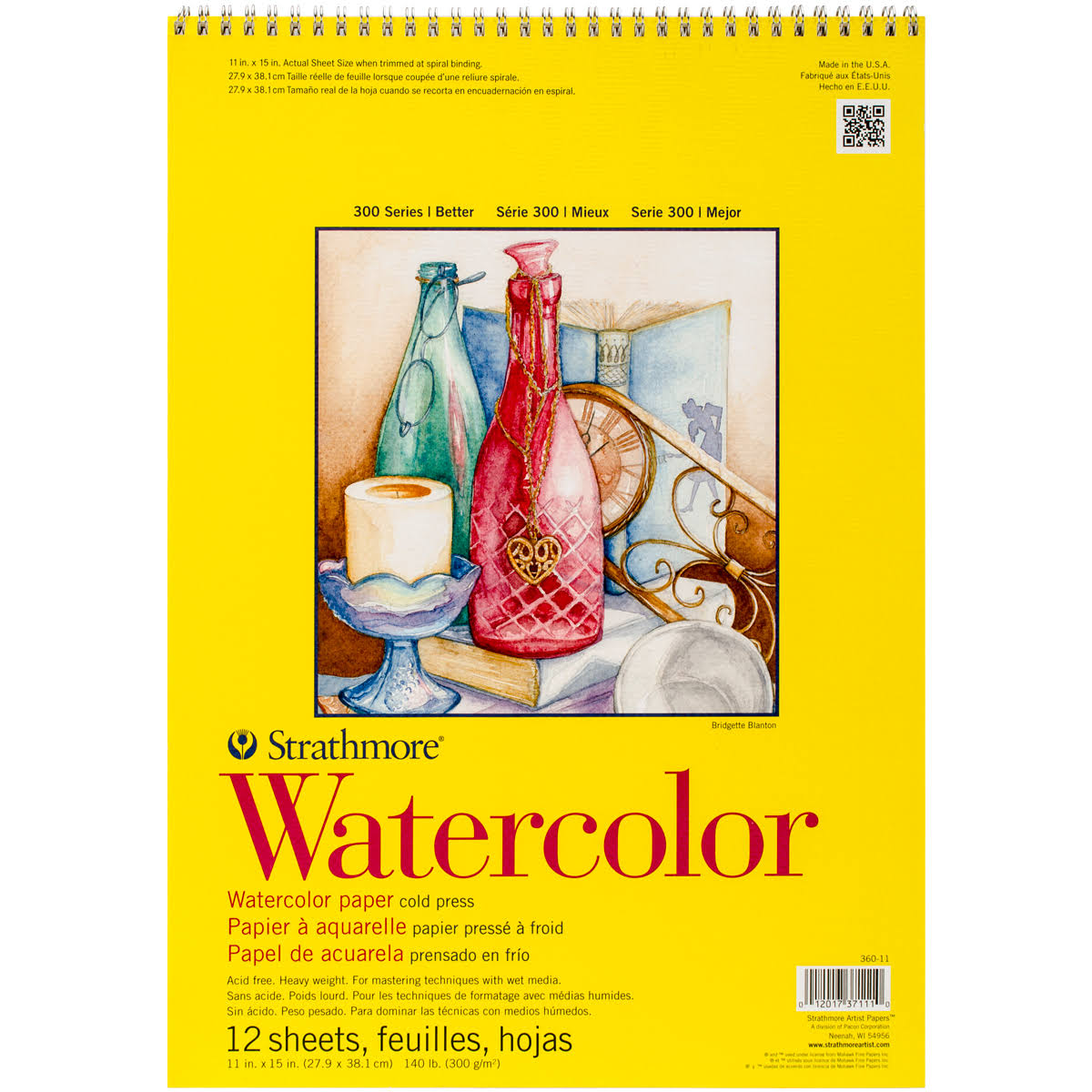 "Strathmore Watercolor Spiral Paper Pad 11""x15"" 12 Sheets"