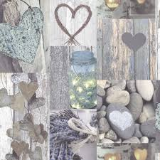 Arthouse Wallpaper Rustic Heart Natural