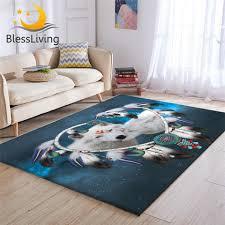 blessliving wölfe paar wohnzimmer teppich weiß wolf 3d teppich tribal tier galaxy teppiche für schlafzimmer dreamcatcher tapis salon