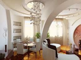 Luxury Partition Wall Designs Living Room And Dining With White Chairs Circle Table