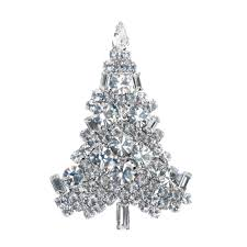White Silver Chunky Crystals Christmas Tree Pin