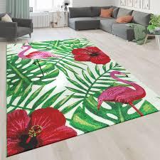 kurzflor wohnzimmer teppich design blumen flamingo