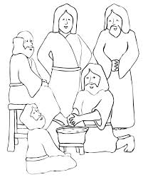 Excellent Jesus Washes The Disciples Feet Coloring Page Clipart Disciple Foot Washing