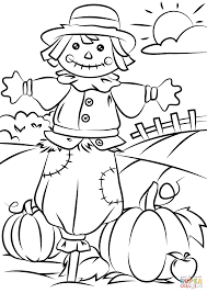 Autumn Scene With Scarecrow Coloring Page Free Printable Within Fall