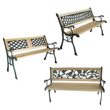 Ebay Patio Furniture Uk by New 3 Seater Outdoor Home Wooden Garden Bench With Cast Iron Legs