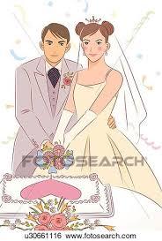 Stock Illustration Bridal couple cutting wedding cake groom putting arm around bride portrait