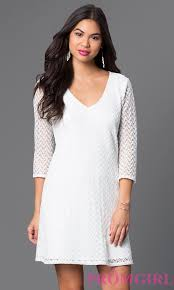 short white lace dress with sleeves promgirl