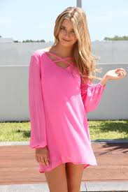 pink dress long sleeve