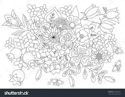 Coloring Book Adult Older Children Stock Vector For And Page Flowers Leaves Butterflies Pdf