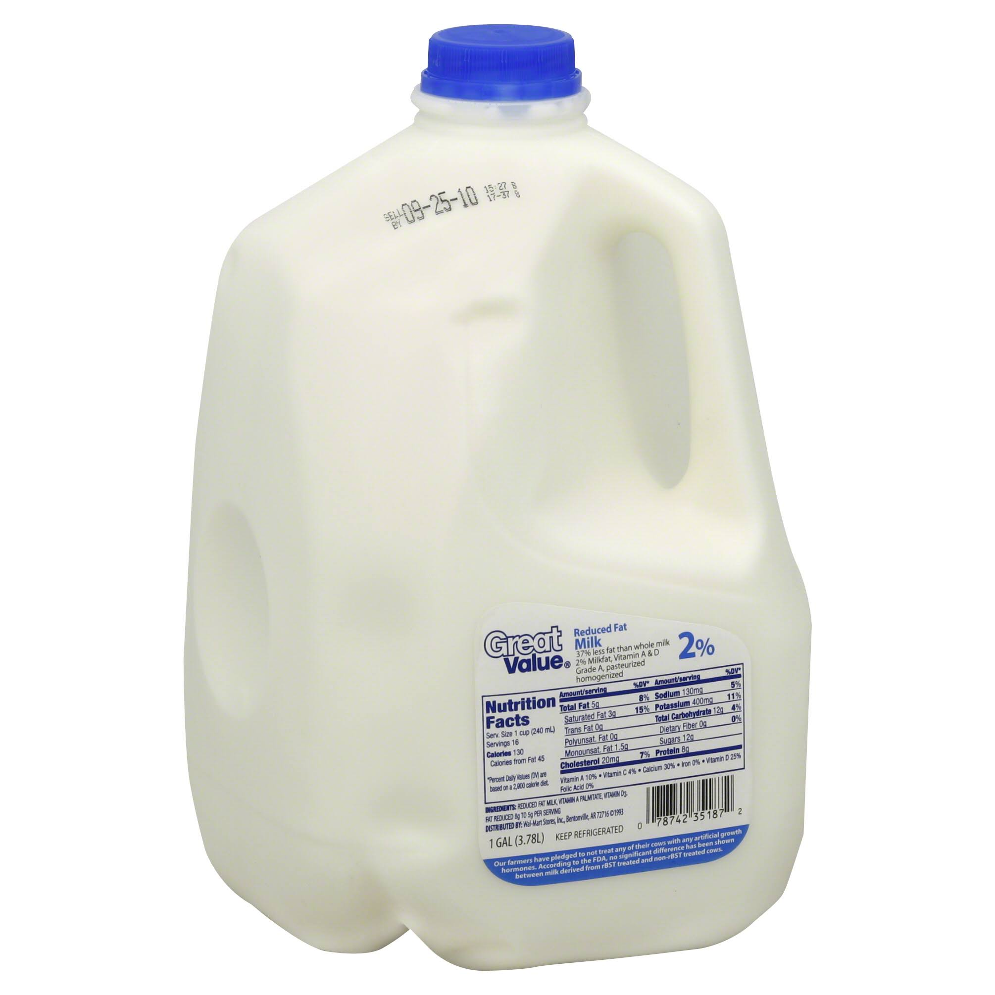 Great Value 2 Percent Reduced Fat Milk - 1gal