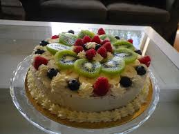 It s a sponge cake with a whipped cream and raspberry filling and some fruit My grandmother used to bake one of these for each and every birthday of her