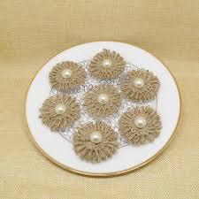 12pcs Lot Natural Jute Burlap Hessian Flower With Artificial Beads Vintage Wedding Decoration Rustic