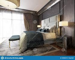 luxuriöses klassisches schlafzimmer mit schwarzen mauern und