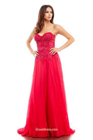 red a line strapless beaded applique beautiful layered tulle prom