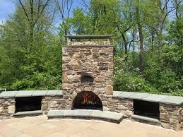Rustic Outdoor Stone Fireplace Pizza Oven Patio Design Ideas