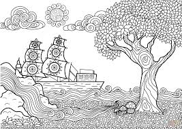 Seascape Zentangle Coloring Page
