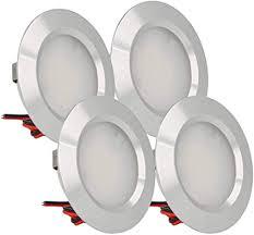 ledlux 4 stück mini led downlight runde schlanke 3w dc 12v 24v loch 50mm für lichter küche badezimmer cer energieeffizienzklasse a silber