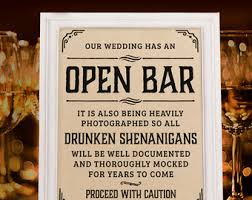 Wedding Open Bar Sign Rustic Decor Reception Kraft Paper Printable