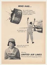 65 United Airlines Weather Satellite Jet Stewardess 1965