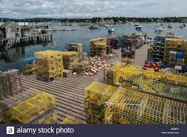 Decorative Wooden Lobster Trap by Wire Lobster Traps On Dock And Fishing Boats In Fog At Fisherman U0027s