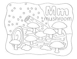 Nature Alphabet Coloring Page Letter M