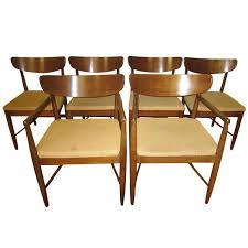 excellent set 6 american of martinsville walnut dining chairs mid